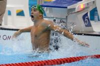 South Africa's Chad le Clos reacts after beating Michael Phelps to win the men's 200 metres butterfly, 31 July 2012 (Photo: Wessel Oosthuizen, SA Sports Picture Agency / South African Sports Confederation and Olympic Committee)