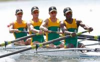 South Africa's team of Matthew Brittain, Sizwe Ndlovu, John Smith and James Thompson win gold in the men's lightweight fours at Eton (Photo � Barry Aldworth, BackpagePix / South African Sports Confederation and Olympic Committee)