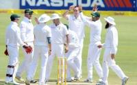 Kyle Abbott celebrates one of his nine wickets in a man of the match-winning debut against Pakistan, 22-24 February 2013 (Photo: Cricket South Africa)