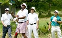 Hollywood star Samuel L Jackson follows the flight of his ball during the Sunshine Tour's Telkom PGA Championship Pro-Am at Country Club Johannesburg, 12 March 2013 (Photo: Sunshine Tour)