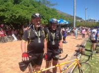 Rodger Saunders (left) and Angus Anthony with their Argus medals. They completed the race in five hours.