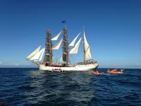 Three Dutch tall ships, Tecla, Europa and Oosterschelde, were outside the Knysna Heads at about noon today on their voyage around the world along the trade routes of historic times.(Photo: Elle Photography)