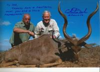 Apollo 16 astronaut Charlie Duke (right) with tour guide and big game hunter, Joe da Silva, with the kudu Duke shot on his first attempt with a .270 rifle at 150m near Bedford in the Eastern Cape.