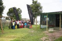The Conrad Pezula team, representatives of the Knysna Education Trust, Sophakama Playschool staff and some of the children were at the official handing over of the revamped preschool. (Photo: Christo Vermaak.)