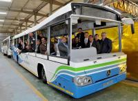 There was great excitement among the delegation at this first viewing of the Go George buses during a visit to Johannesburg last week. Mayor Charles Standers (behind the wheel) was part of the first group to travel in one of the buses.