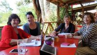 From left) Pam Snyman (Sk�l Garden Route), Belinda Hobson (Sedgefield Information), Tania Human (Windpomp diner) and Rita Knotze (Scarab Village). (Photo: Fran Kirsten)
