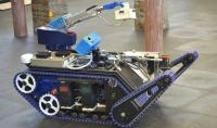 The state-of-the-art mining robot developed by the Council for Scientific and Industrial Research is able to assess mines after blasting, to ensure they are safe for mineworkers to enter. (Image: Shamin Chibba)