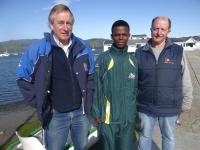Gathered at the Knysna Yacht Club before departure to the RS Tera World Championships in Holland were (from left) coach Mike Pogodin, sailor Sanele Maquaza, and manager/coach Andrew Finn