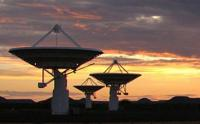 Three of the seven antennas of the KAT-7 demonstrator radio telescope outside Carnarvon in the Northern Cape province.(Photo: SKA South Africa)