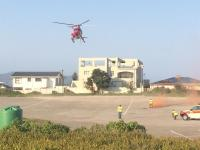The young shark attack victim was airlifted to hospital.