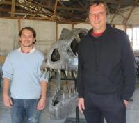 Dennis Combrink of Sculp Deco, created a realistic T-rex sculptwork which was inspired by Steven Spielberg�s Jurassic World 2015. With him is Philip Denn who painted the Tyrannosaurus Rex. (Photo: Pauline Lourens )