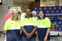 Cheryl Britz, chairperson of the Knysna CPF (left), with two CPF members, Kashief Ismail and Jessica Traill at the United Against Crime Expo. (Photo: Christo Vermaak.)