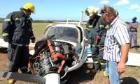 The wreckage of the aircraft after Hans Potgieter had to make an emergency landing on 14 December 2014.
