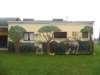 The African theme is depicted on the Rheenendal Community Hall's walls