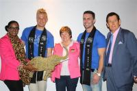 Finalists and delegates of Mr Gay World 2015 were welcomed to Knysna this morning. Standing in their midst are Knysna�s executive mayor Georlene Wolmarans, Councillor Richard Dawson and deputy mayor Esm� Edge.