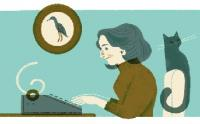Nadine Gordimer labouring in her study, where she typically worked from early morning into the late afternoon, as imagined by Google doodle artist Lydia Nichols. (Image:  Google)