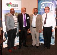 From left: Thembalethu Business Partnership Chairman Richard Shumi, George Deputy Mayor Daniël Maritz, AHi CEO Dr Ernest Messina and George Business Chamber President Dr Willie Cilliers. (Photo: Wessel van Heerden)