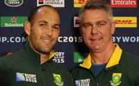 Springbok coach Heyneke Meyer (right) with newly named captain of the Bokke, Fourie du Preez. (Image: Saru)