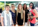 Seen at the Wild Oats Farmer's Community Market sporting their red lips in support of the Red my Lips campaign are (from left) Sam Trietsch, Babette Abrahams, Gabriella Claassens, Karen van der Walt, Belinda Hobson and the Yorky, Brie. Photo: Fran Kirsten