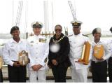 From left: Seaman Gregon Andrews, Warrant Officer Leon van Rensburg, executive mayor Georlene Wolmarans, Ensign Brushane Hutton and Able Seaman Adrian Alie.