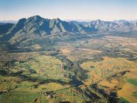 Aerial View of George and Outeniqua Mountains Garden Route South Africa