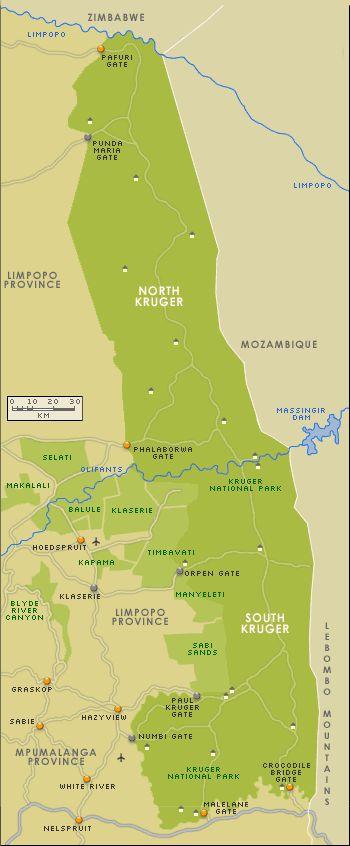South Africa Kruger Park Map